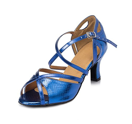 URVIP Women's PU Leather Heels Ballroom Pumps Modern Latin Tango Shoes Cross Ankle Strap Buckle Dance Shoes LD005 Blue 9.5 B(M) US
