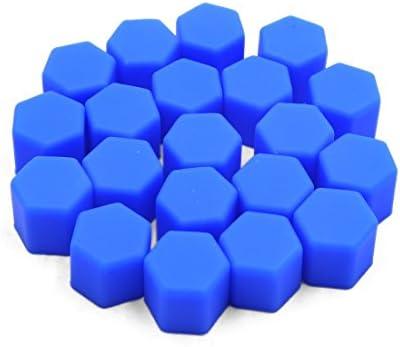 uxcell ナットキャップ ナットカバー ホイールハブネジキャップ 17mm ブルー シリコーン 自動車用 20個入り
