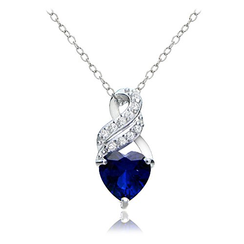 Sterling Silver Created Sapphire & White Topaz Heart Double Twist - Set Sapphire Heart Pendant