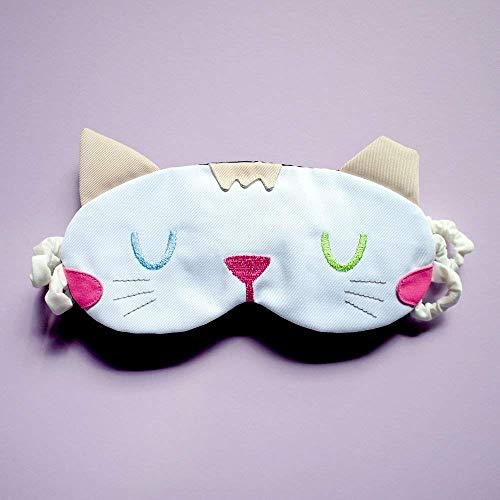 Padded Sleep Mask, Cute White Odd Eyed Kitty Cat Handmade Travel Eye Cover Shield Avant Garde Style -