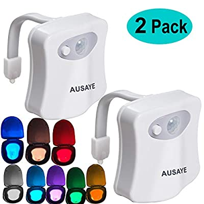 Toilet Night Light(2Pack) by AUSAYE, 8-Color Led Motion Activated Toilet Seat Light, Fit Any Toilet Bowl,Toilet Bowl Light with Two Mode Motion Sensor LED Washroom Night Light