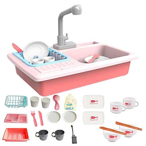 Tuangexportabl Kitchen Sink and Spark Create Imagine Microwave Set,Kitchen Sink,Kitchen Pretend Play Toys Simulation Dishwasher Children Educational Toy Size 4027.531cm (Pink)