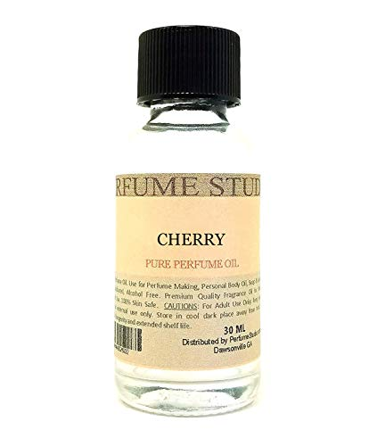(Pure Perfume Oil for Perfume Making, Personal Body Oil, Soap, Candle Making & Incense; Splash-On Clear Glass Bottle. Premium Quality Undiluted & Alcohol Free (1oz, Cherry))