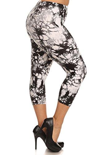 Leggings Depot Women's Plus Size High Waisted Best Selling Capri Print Leggings (Tie Dye Pebble)