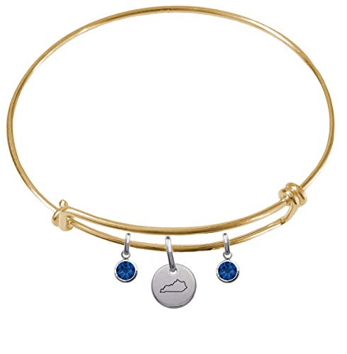 CustomCharms Kentucky State Gold Expandable Wire Charm Bracelet Bangle w/Blue Color Crystals