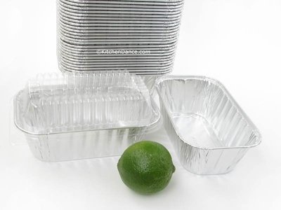 Disposable Aluminum 1 Lb. Loaf Pans with Clear Snap on Lid #5000p (1000)