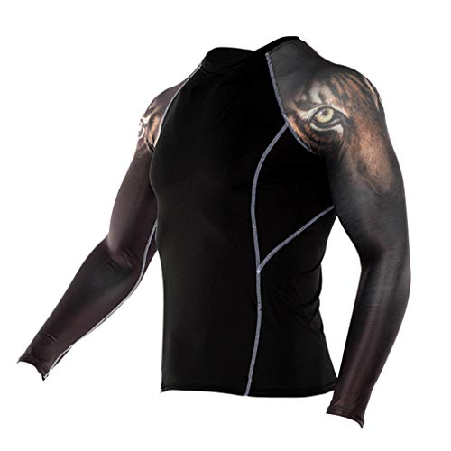 Outique Quick-Dry Men's Long Sleeve Cycling Jerseys Fashion Yoga Fitness Soft T-Shirt Sports Printing Blouse ()
