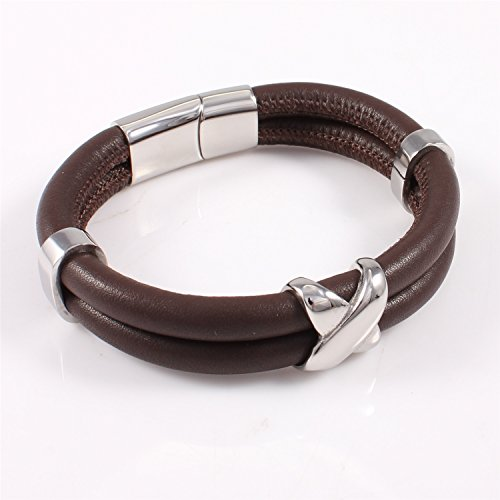Mens X-Accent 2-Strand Brown Leather Bracelet with Magnetic Box (Bead Magnetic Clasp Cable)