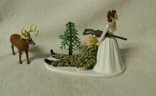 Wedding Camo Redneck blonde brunette hair Deer Hunter Hunting Cake Topper -