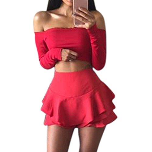Court Longues Sexy Blouses Nues Pink Col Shirt Tops Bralet paules T Manches Top Chic paule Bateau Pull Boobtube Chemisier Haut Crop Hot Femme Volants r0zw1rqR