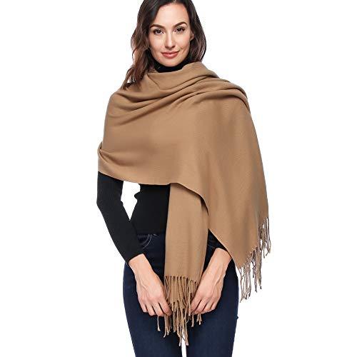 (HOYAYO Cashmere Wool Shawl Wraps - Extra Large Thick Soft Pashmina Scarf(Camel))