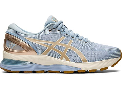 ASICS Women's Gel-Nimbus 21 Running Shoes, 8M, Mist/Frosted Almond