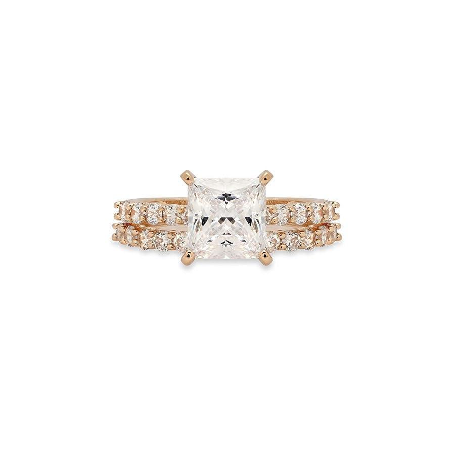 Clara Pucci 2.86 CT Princess Cut Solitaire Pave Halo Bridal Engagement Wedding Ring Band Set 14k Yellow Gold