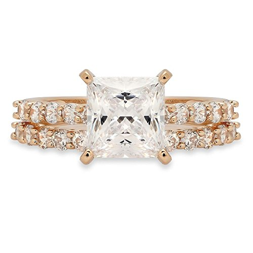- Clara Pucci 2.76 CT Princess Brilliant Cut CZ Designer Solitaire Designer Pave Double Halo Ring band set Solid 14k Yellow Gold