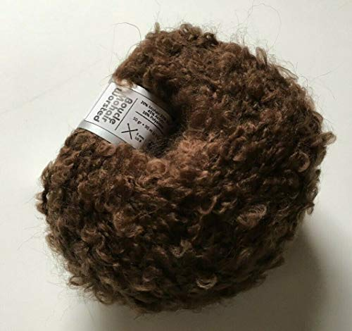 Brown Worsted Boucle Yarn - Ice Soft Acrylic, Wool, Mohair, Nylon Blend, 50 Gram, 98 Yards