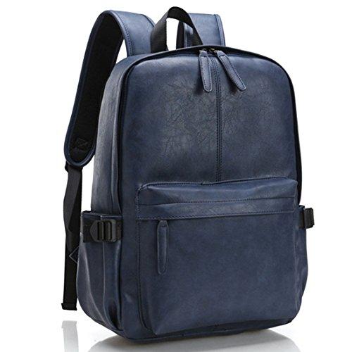 Studenten Campus Rucksack, Foxom PU Leder 15-Zoll-Laptop Daypack Wanderrucksack Backpack Damen Herren Studenten Schultertasche Für Camping Reise (Ming blau) Ming blau