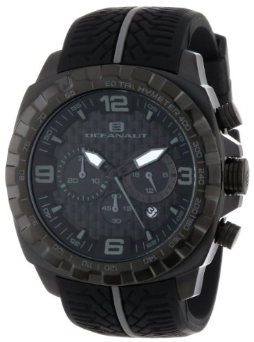 - Oceanaut Men's OC1123 Racer Chronograph Black-and-Gray Stainless Steel Watch with Tire-Tread Band