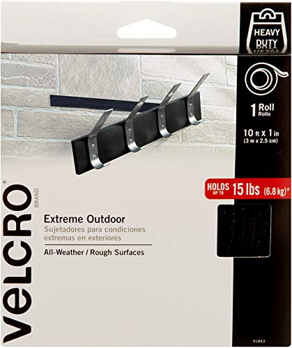 VELCRO Brand Industrial Strength Fasteners | Extreme Outdoor Weather Conditions | Professional Grade Heavy Duty Strength Holds up to 15 lbs on Rough Surfaces | 10 ft x 1 inch Tape, Black from VELCRO Brand