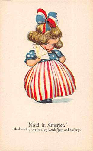 Patriotic Greetings Girl in USA Flag Dress Vintage Postcard JA4741730