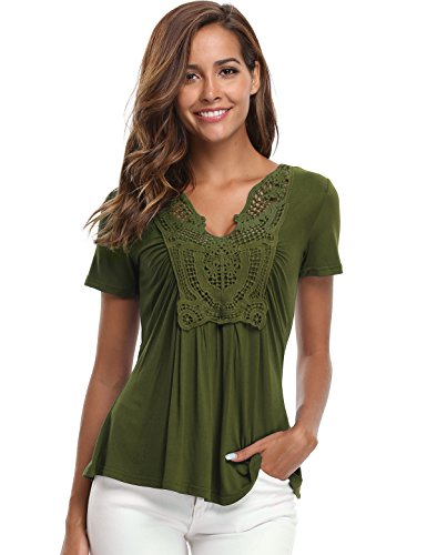 MISS MOLY Women's Deep V-Neck Ruched Front Short Sleeve Ruffle Casual Tops Tunic Blouse Shirt (Large/US-14, Army Green)