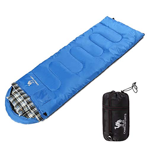 Camel Outdoor Warm Cotton Sleeping Bag with Attached Pillow Comfortable for 4 Season Camping, Hiking, Backpacking, Traveling]()