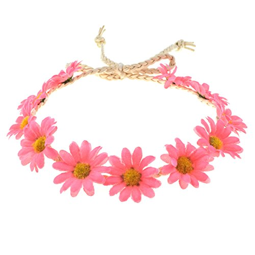 Floral Fall Boho Sunflower Crown Hippies Daisy Hair Wreath Bridal Headpiece Photo Props DY-01 (Pink) ()