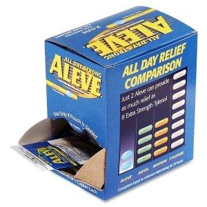 Aleve 90010 Aleve Pain Relief Caplets Packs Single Dose 50/BX Blue -