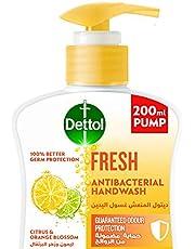 غسول اليدين ديتول المنعش للحماية الفعالة من اكثر من 100 مرض تسببه الجراثيم وللنظافة الشخصية، برائحة الليمون وزهر البرتقال، عبوة سعة 200 مل