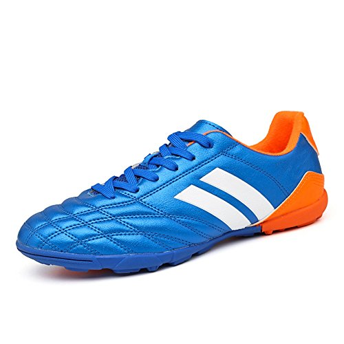 YING LAN Men's Boys Turf Cleats Soccer Athletic Football Outdoor/Indoor Sports Shoes TF Blue (Shoes Outdoor Turf Soccer)