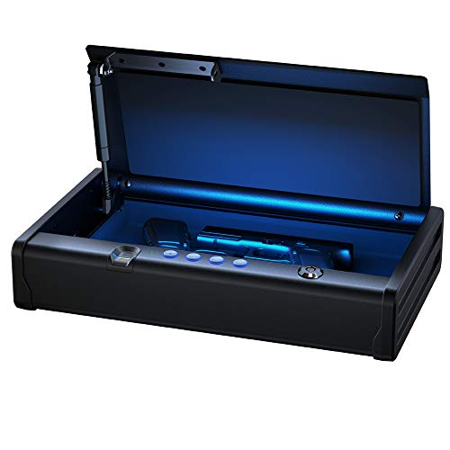 SentrySafe QAP2BEL Gun Safe with Biometric Lock and Interior Light Two Handgun Capacity