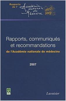 Book rapports communiques et recommandations2007 coll rapports de l'academie nationale de medecine