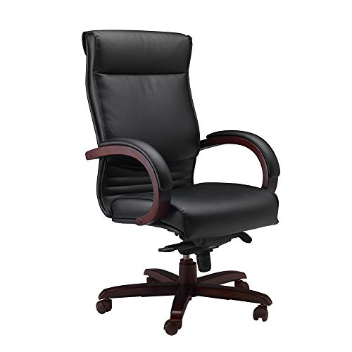 - Mayline CSMAH Napoli High Back Leather Task Chair with Arms, Mahogany Veneer, Black Leather