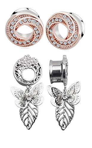 Zaya Body Jewelry 2 Pairs of Rose Gold Steel Crystal Gem and Butterfly Dangle Gauges Ear Tunnels 00g 1/2 (0g 8mm)