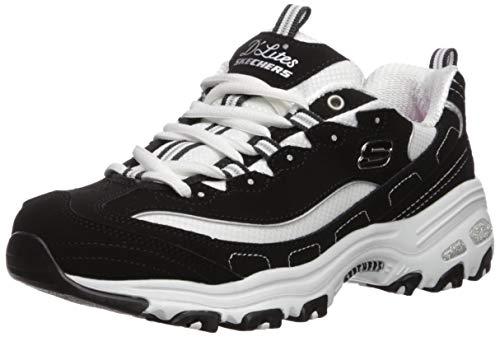 Skechers Sport Women's D'Lites Memory Foam Lace-up Sneaker,Biggest Fan Black/White,6.5 M US