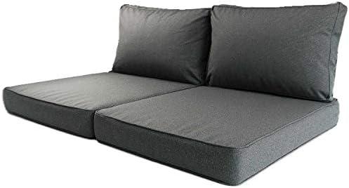 Nordje Exclusive Palettenkissen Outdoor Grau 60x80&60x40 cm (2 Stück Set) | wasserabweisen | gewebter Stoff | Indoor & Outdoor | Paletten-Auflage (Grau)