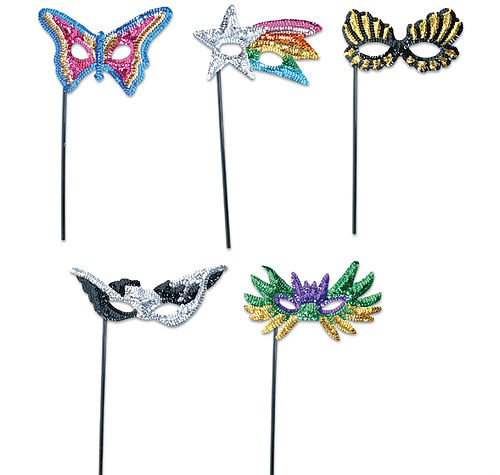 Sequin Masks with Sticks (1 Dz) - Stick Mask
