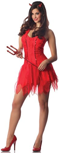 Delicious Inferno Sexy Devil Costume, Red, (Halloween Horror Nights Reviews)