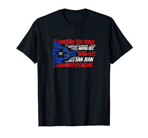 Puerto Rico Flag with City Names San Juan Word Art T-Shirt