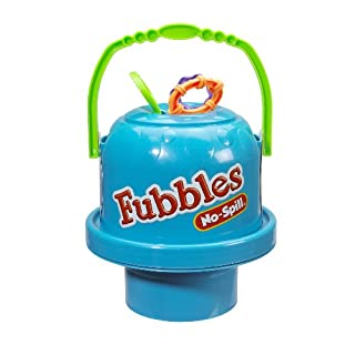Little Kids Fubbles No-Spill Big Bubble Bucket in Blue for Multi-Child Play, Made in the USA