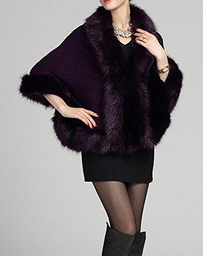 Helan cape Violet fourrure chale floral avec manteau Fox femmes faux wqUAB