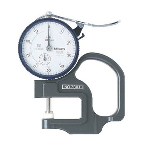 Mitutoyo 7301 Dial Thickness Gage, Flat Anvil, Standard Type, 0-10mm Range, 0.01mm Graduation, +/-15 micrometer Accuracy
