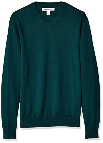 Amazon Essentials Men's V-Neck Sweater, Forest Green, - Pullover V-neck Cotton