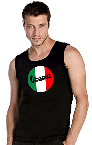 Vespa scooter Fun schwarze Top Tank T-Shirt -2558