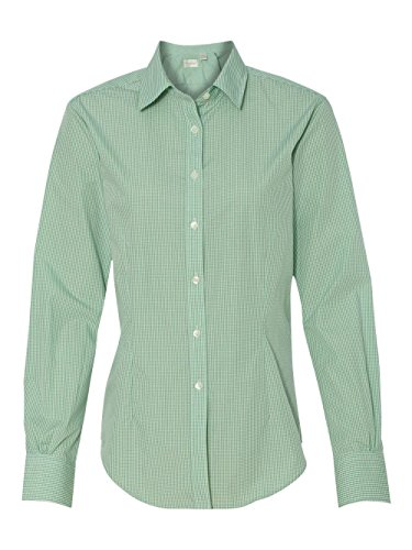 Chicory Apparel - Van Heusen V0226 Ladies Long-Sleeve Yarn-Dyed Gingham Check - Green Chicory, Extra Large