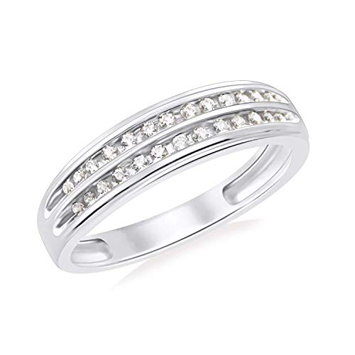 GS & CO 925 Sterling Silver Fashion Men's Ring Band Rhodium Finishing Gold Plating Two Row Channel Set CZ Diamond Classic Stylish Design For Occasion Wear ()