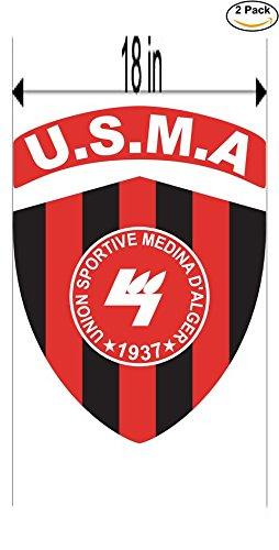 fan products of Union Sporive Medina d Alger Algeria Soccer Football Club FC 2 Stickers Car Bumper Window Sticker Decal Huge 18 inches