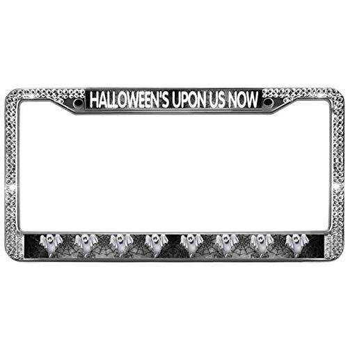 paipaidiedie License Plate Frames HALLOWEEN'S Upon US Now License Plate Frame Sparkle Glitter Rhinestone License Plate Frame 12