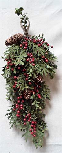 JMB Christmas Multi-Pine 29'' Teardrop with Dark Red Berries, Eucalyptus, Pinecone and Winter Ferns by JMB