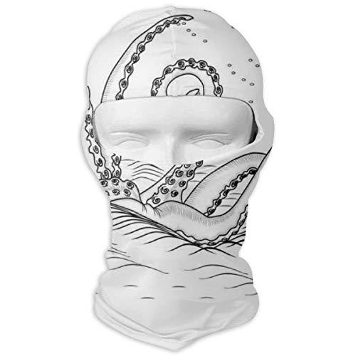 Xuforget Kraken Decor Myth Legend Creature Tentacles On The Sea Wave Fantasy Mens & Female Balaclavas Full Face Mask Hood White