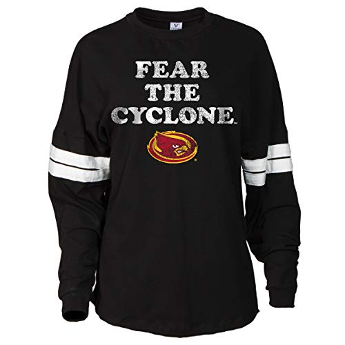 Official NCAA Iowa State Cyclones Women's Striped Oversized Football Tee -